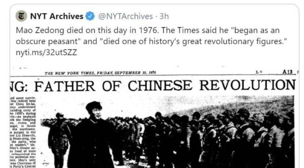 "NY Times Praises Mass Murdering Mao as ""One of History's Great Revolutionary Figures"""
