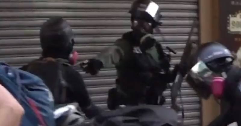 Video: Riot Cop Shoots Hong Kong Protester in Chest With Live Round