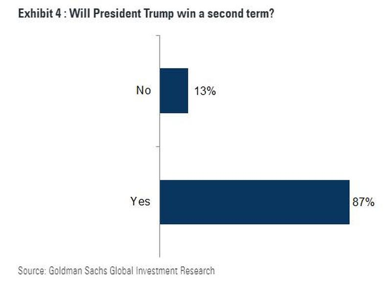Goldman Sachs Clients 87 Per Cent Sure Trump Will be Re-Elected