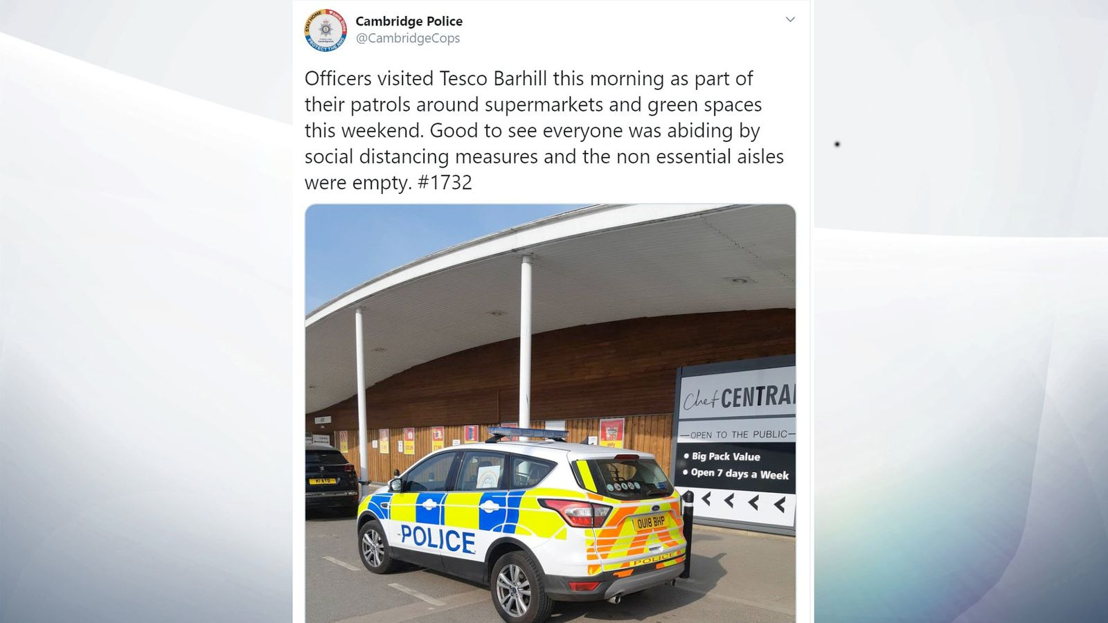 "Second UK Police Force Threatens to Check if Public Are Making ""Non-Essential"" Purchases"