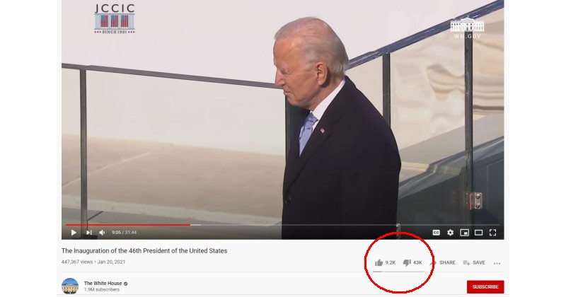 "bidenyt The ""Most Popular President in U.S. History"" Isn't Doing Too Well on YouTube Opinion [your]NEWS"